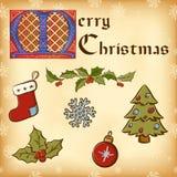 Elemente des Weinlese-Weihnachten (neues Jahr). Lizenzfreies Stockbild