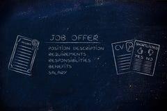 Elemente eines Jobangebots nahe bei einem Grad, einem Lebenslauf und einer Auswahlliste Lizenzfreie Stockfotos