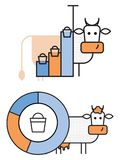 Elemente für infographics über Kühe und Milchproduktion vektor abbildung