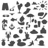 Elemente für Küstenferien Stockbilder