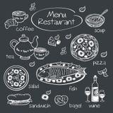 Elemente für Restaurantmenü stockbilder