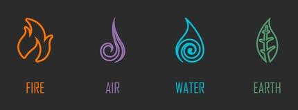 Elemente Feuer, Luft, Wasser, Erdlinie Symbole der Zusammenfassungs-vier Vektor Abbildung
