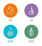 Elemente Feuer, Luft, Wasser, Erdlinie Symbole der Zusammenfassungs-vier gesetzt auf Kreise Stock Abbildung