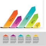 Elemente infographics, Diagramm mit Pfeilen, einfaches buntes Diagrammprozent, Zeitachseindikator mit 5 Schritten, Balkendiagramm Lizenzfreie Stockbilder