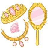 Elemente Prinzessin-Accessories Set Fantasy Lizenzfreies Stockbild