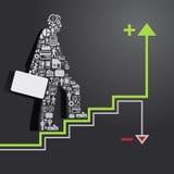Elemente sind kleine Ikonen, die Finanzierung im Geschäftsmannkonzept machen Lizenzfreies Stockfoto