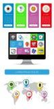 Elemente Ui, des infographics und des Netzes Lizenzfreie Stockfotos