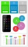 Elemente Ui, des infographics und des Netzes einschließlich flaches d Lizenzfreie Stockfotos