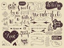 Elemente und Wörter Handlettering Stockfotos