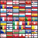 Elemente von Designikonenflaggen der Länder von Europa Stockfoto