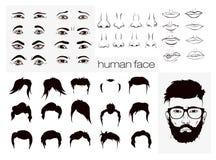 Elemente von Gesichtsmännern einer Person Lizenzfreie Stockbilder