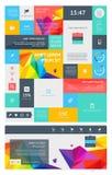 Elemente von Infographics mit Knöpfen und Menüs Lizenzfreies Stockfoto