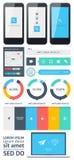 Elemente von Infographics mit Knöpfen und Menüs Stockfoto