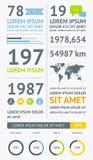 Elemente von Infographics mit Knöpfen und Menüs Stockfotos