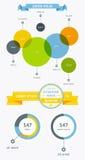 Elemente von Infographics mit Knöpfen und Menüs Lizenzfreies Stockbild