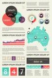 Elemente von Infographics mit Knöpfen und Menüs Lizenzfreie Stockfotos