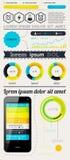 Elemente von Infographics mit Tasten und Menüs Lizenzfreie Stockfotografie