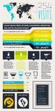 Elemente von Infographics mit Tasten und Menüs Lizenzfreies Stockbild