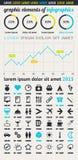 Elemente von Infographics mit Tasten und Menüs Lizenzfreie Stockfotos