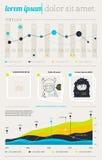 Elemente von Infographics mit Tasten und Menüs Lizenzfreie Stockbilder