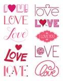 Elementen Drie van het liefdeontwerp Stock Afbeeldingen