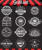 Elementen en kentekens van het grill de de uitstekende die ontwerp op bord worden geplaatst Royalty-vrije Stock Foto's