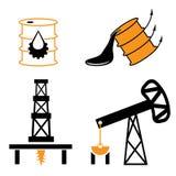 elementen en symbool van val en stijging olieprijzen Royalty-vrije Stock Afbeeldingen