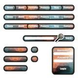 Elementen met poligonalachtergrond voor website Stock Foto's