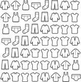 elementen moderne slijtage, Lineaire pictogrammen Stock Afbeeldingen
