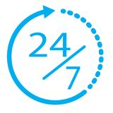 24/7 elementen 24 uur per dag en 7 dagen per week open pictogram Vlakke I stock illustratie