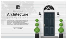 Elementen van architectuur, voordeurachtergrond royalty-vrije illustratie