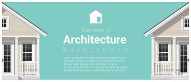 Elementen van architectuurachtergrond met een plattelandshuisje stock illustratie