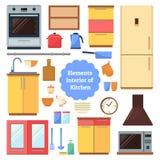 Elementen van de binnenlandse keuken Stock Foto