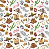 Elementen van de het patroonkrabbel van Mexico de naadloze, de Hand getrokken hoed van de schets Mexicaanse traditionele sombrero vector illustratie