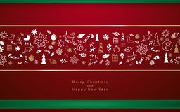 Elementen van de Kerstmis de decoratieve winter Vrolijke Kerstmis en Gelukkig Nieuwjaar stock foto