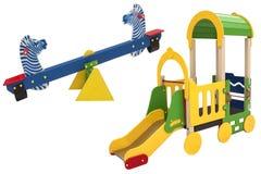Elementen van de speelplaats van kinderen Stock Foto