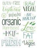 Elementen van de veganist de Hand getrokken Tekst Stock Fotografie