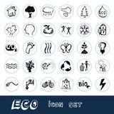 Elementen van Eco en de pictogrammen de geplaatste van het milieuWeb Royalty-vrije Stock Afbeeldingen