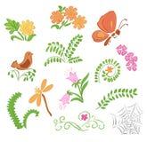Elementen van flora en fauna - illustratie Royalty-vrije Stock Foto