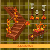 Elementen van het de herfstlandschap, decor royalty-vrije illustratie