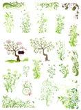 Elementen van het de lente de groene bloemenontwerp royalty-vrije illustratie
