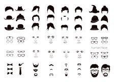 Elementen van het gezichtsmensen van een persoon Stock Afbeelding