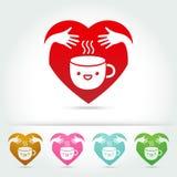 Elementen van het het embleemontwerp van de koffie de leuke kop Stock Fotografie