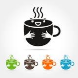 Elementen van het het embleemontwerp van de koffie de leuke kop Stock Foto