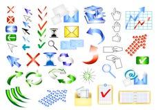 Elementen van het het Webontwerp van het pictogram de vector vastgestelde Royalty-vrije Stock Foto