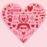 Elementen van het Hipster de roze en rode romantische ontwerp Royalty-vrije Illustratie