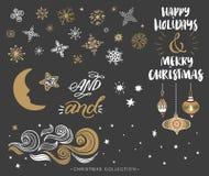 Elementen van het Kerstmis de hand getrokken ontwerp met kalligrafie Royalty-vrije Stock Foto's