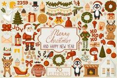 Elementen van het Kerstmis de vastgestelde beeldverhaal Stock Foto
