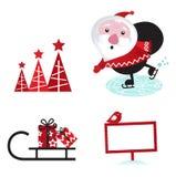 Elementen van het ontwerp retro Kerstmis van de winter Stock Foto