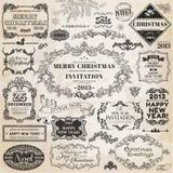 Elementen van het Ontwerp van Kerstmis de Kalligrafische Stock Foto